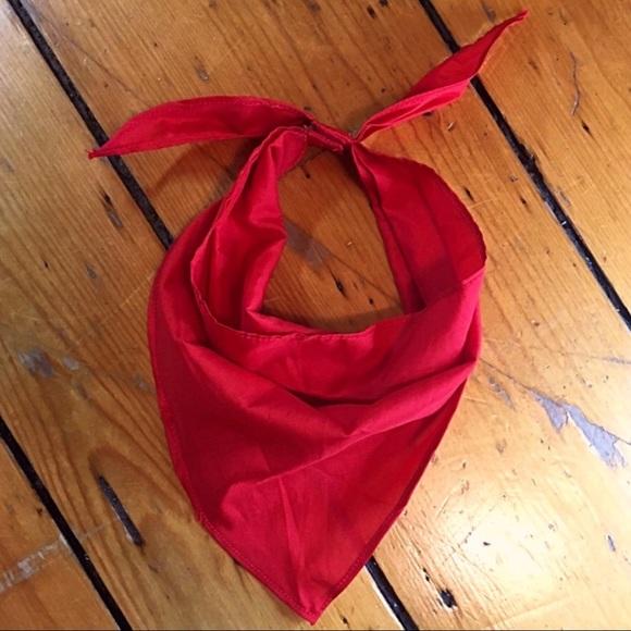 Anthro Classic Red hair bandana velcro closure OS